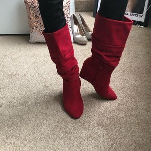 Suede red mid calf heeled boots
